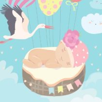 Stork and baby on blue sky. Vector illustration