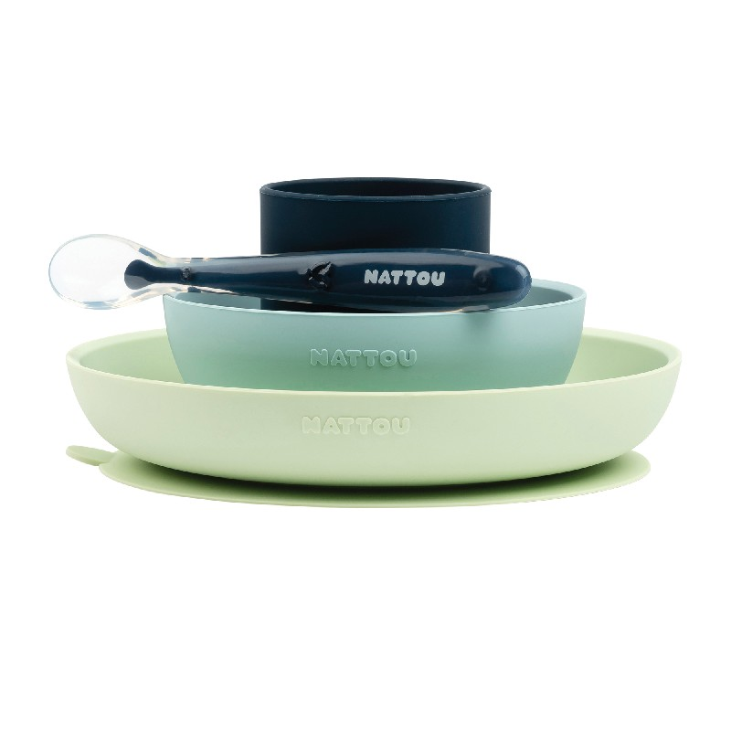Set repas Nattou silicone vert/bleu